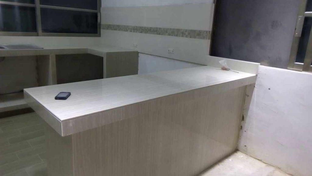 cocina integral de cemento