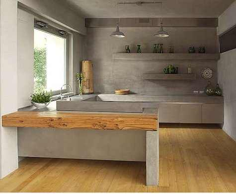 cocina integral de concreto